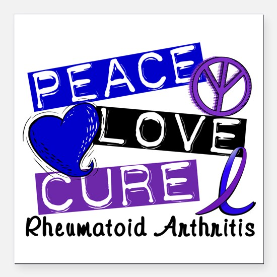 "RA Peace Love Cure 1 Square Car Magnet 3"" x 3"""