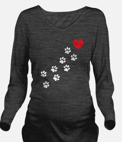Paw Prints To My Hea Long Sleeve Maternity T-Shirt