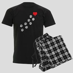 Paw Prints To My Heart Men's Dark Pajamas