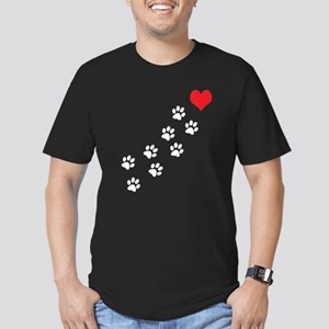 Paw Prints To My Heart Men's Fitted T-Shirt (dark)