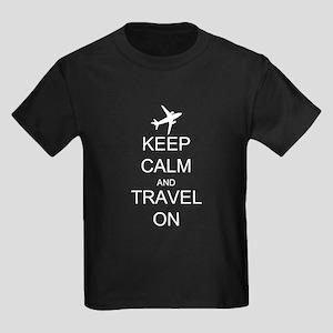 Keep Calm and Travel On Airplane Kids Dark T-Shirt