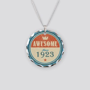 Awesome Since 1923 Necklace Circle Charm