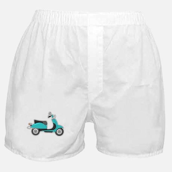 Cute Retro Scooter Blue Boxer Shorts