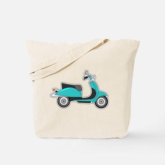 Cute Retro Scooter Blue Tote Bag