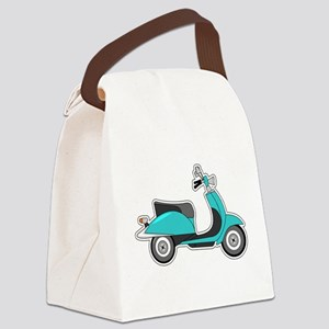 Cute Retro Scooter Blue Canvas Lunch Bag