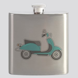 Cute Retro Scooter Blue Flask