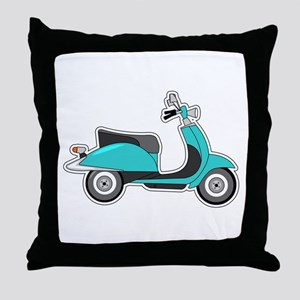Cute Retro Scooter Blue Throw Pillow