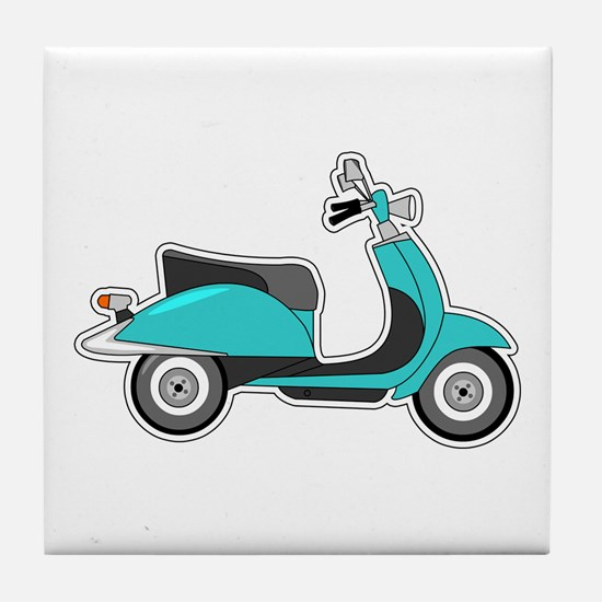 Cute Retro Scooter Blue Tile Coaster