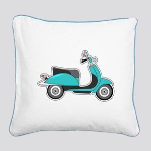 Cute Retro Scooter Blue Square Canvas Pillow
