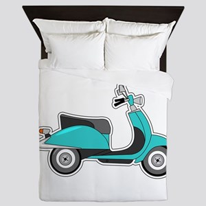 Cute Retro Scooter Blue Queen Duvet