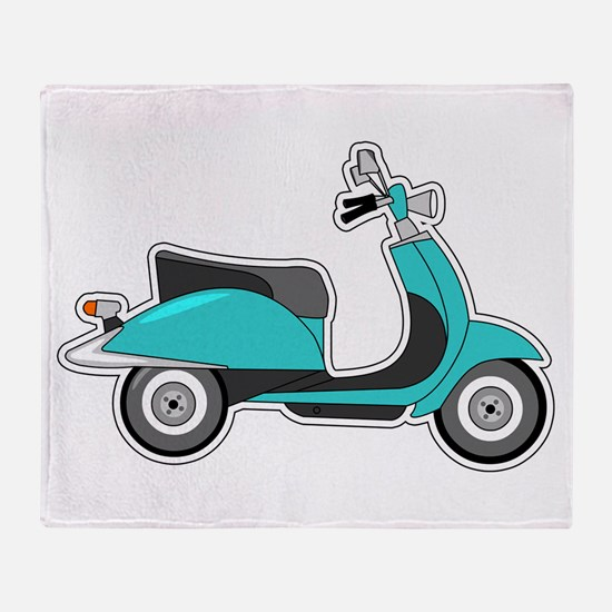 Cute Retro Scooter Blue Throw Blanket