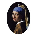 The girl with a pair of glasses Ornament (Oval)