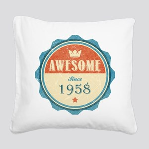 Awesome Since 1958 Square Canvas Pillow