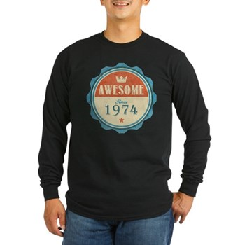Awesome Since 1974 Long Sleeve Dark T-Shirt