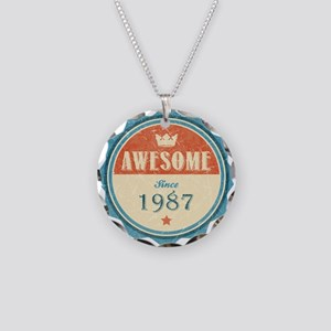 Awesome Since 1987 Necklace Circle Charm