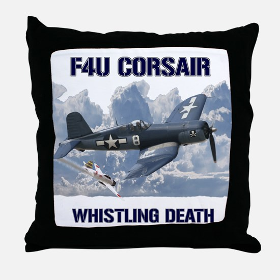 F4U Corsair Whistling Death Throw Pillow