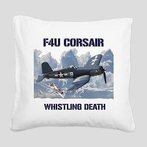 F4U Corsair Whistling Death Square Canvas Pillow
