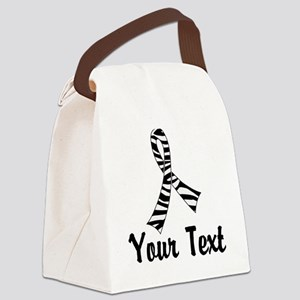 Personalized Zebra Ribbon Awarene Canvas Lunch Bag