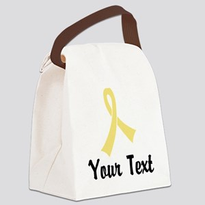 Personalized Pale Yellow Ribbon A Canvas Lunch Bag