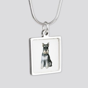 Schnauzer (gp2) Silver Square Necklace