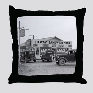 Hi-Way Sandwich Shop, 1939 Throw Pillow