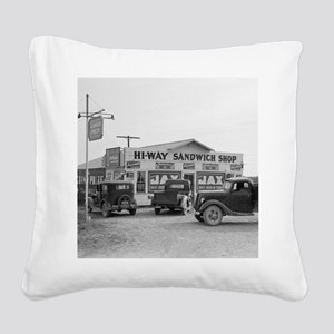 Hi-Way Sandwich Shop, 1939 Square Canvas Pillow