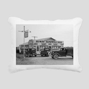 Hi-Way Sandwich Shop, 19 Rectangular Canvas Pillow