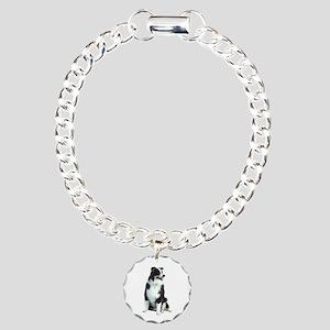Australian Shep (BW) Charm Bracelet, One Charm