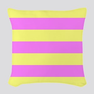 Pink And Yellow Stripes Woven Throw Pillow