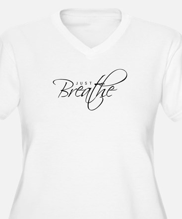 Just Breathe - Women's V-Neck Plus Size T-Shirt