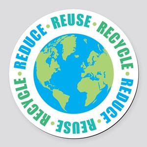Reduce Reuse Recycle Round Car Magnet