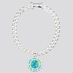 Reduce Reuse Recycle Charm Bracelet, One Charm