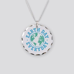 Vintage Earth Day Everyday Necklace Circle Charm