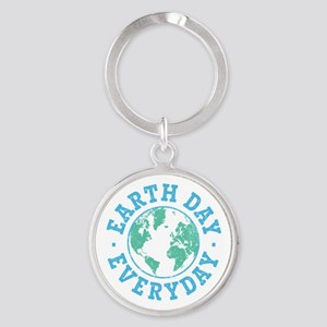 Vintage Earth Day Everyday Round Keychain