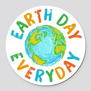 Earth Day Everyday Round Car Magnet
