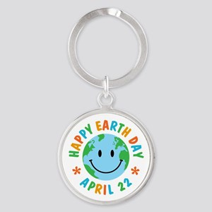 Happy Earth Day Round Keychain