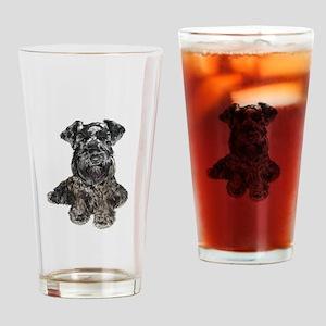 Schnauzer (gp-blk) Drinking Glass
