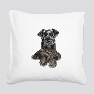 Schnauzer (gp-blk) Square Canvas Pillow