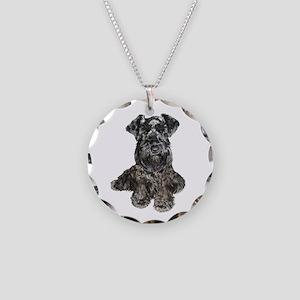 Schnauzer (gp-blk) Necklace Circle Charm