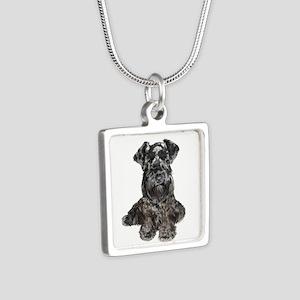 Schnauzer (gp-Blk) Silver Square Necklaces