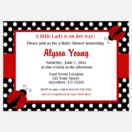 Party invitations party invitation wording ideas party invites ladybug red shower invitation invitations stopboris Image collections