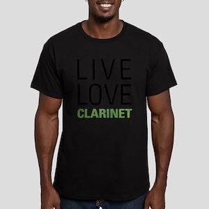 Live Love Clarinet Men's Fitted T-Shirt (dark)