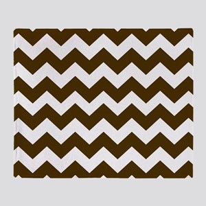 Dark Brown Chevron Zigzags Throw Blanket