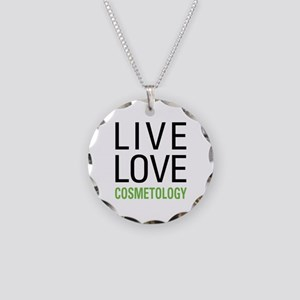 Live Love Cosmetology Necklace Circle Charm