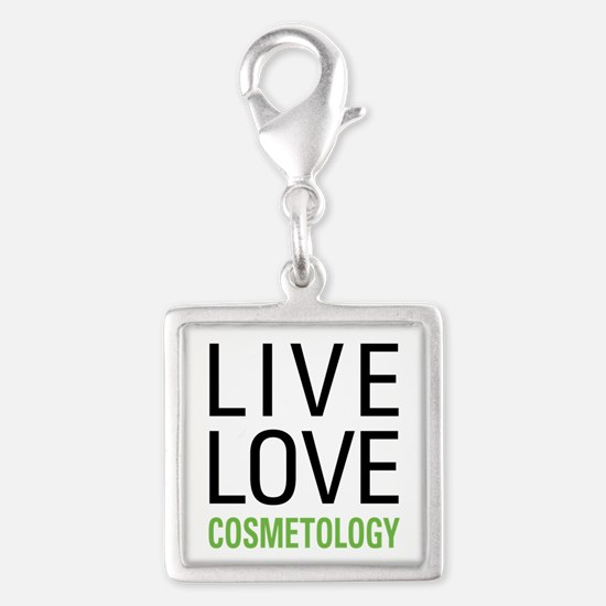 Live Love Cosmetology Silver Square Charm