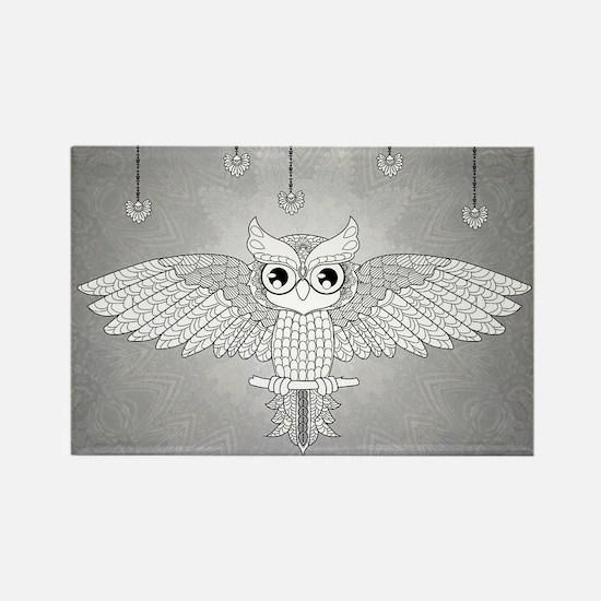Wonderful mandala design, cute owl Magnets