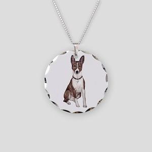 Basenji (brindle) Necklace Circle Charm