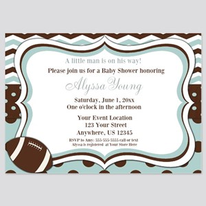 Blue Brown Football Baby Shower Invite Invitations