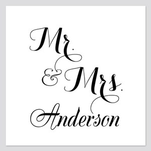 Mr. & Mrs. Personalized Mon 5.25 x 5.25 Flat Cards