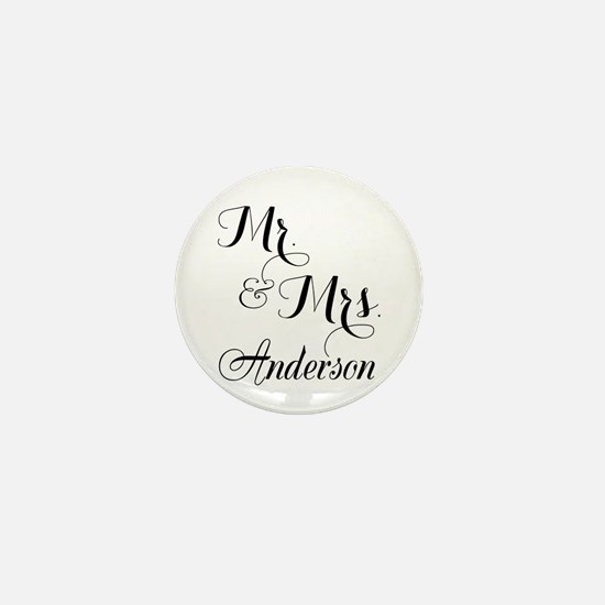 Mr. & Mrs. Personalized Monogrammed Mini Button